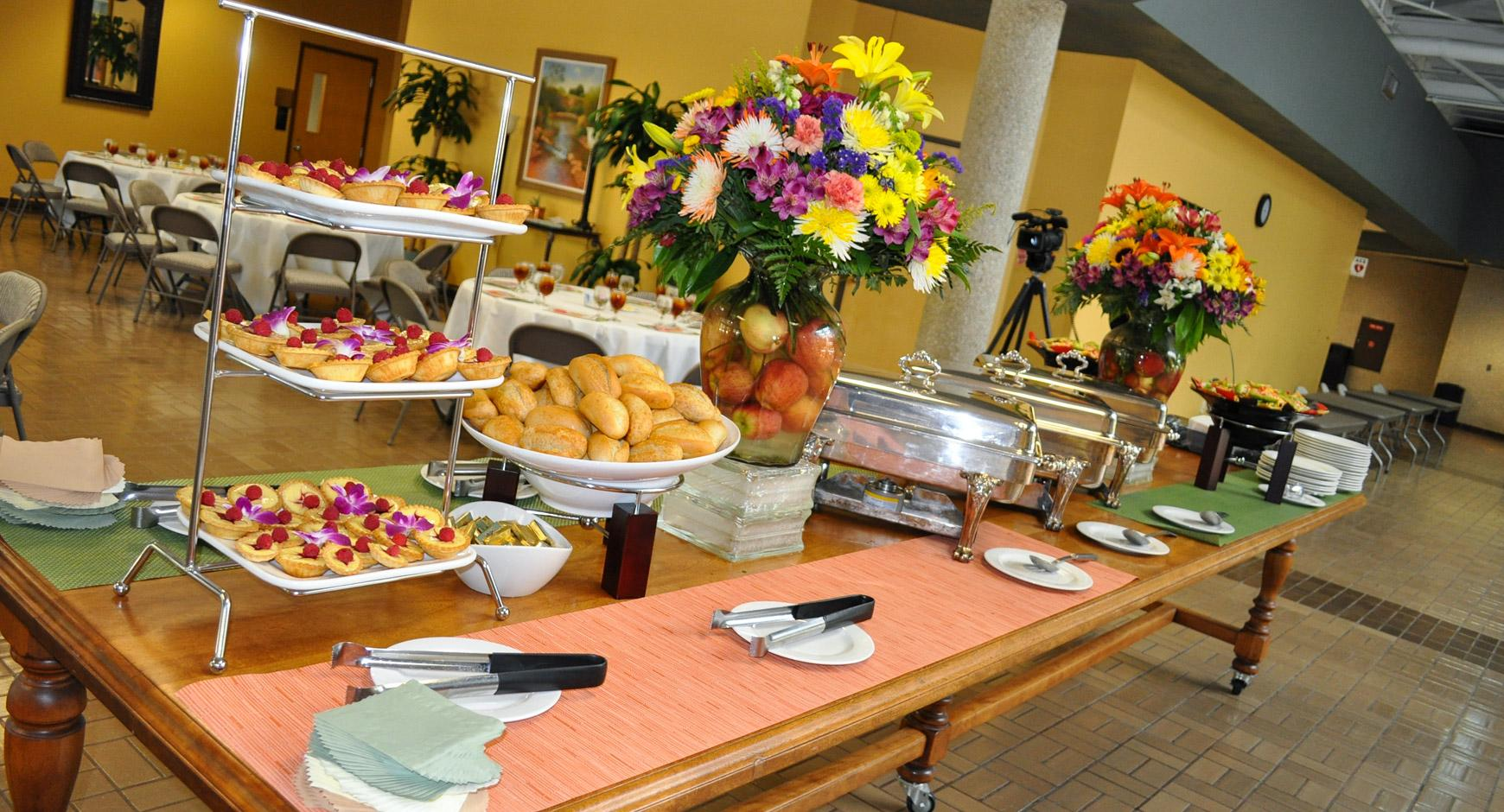Cafe and catering table spread